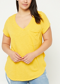 Plus Dark Yellow Oversized Pocket Tee