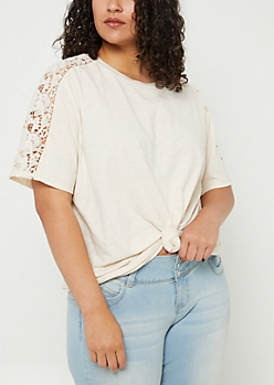 Plus Ivory Crocheted Shoulder Boxy Slub Tee