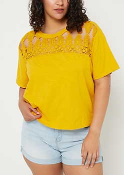 Plus Dark Yellow Crocheted Boxy Slub Tee