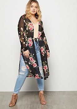 Plus Black Floral Print Mesh Vented Kimono