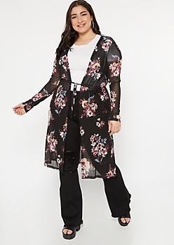 Plus Black Mesh Floral Print Front Tie Kimono