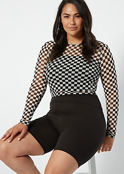 Plus Checkered Print Long Sleeve Mesh Tee