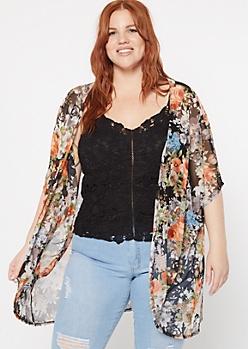 Plus Black Floral Print Mesh Kimono
