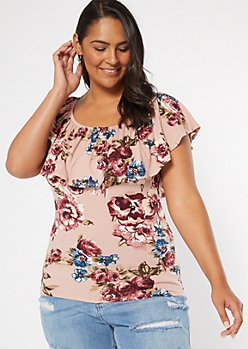 Plus Pink Floral Print Flounce Top