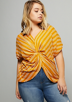 Plus Mustard Striped Super Soft Dolman Knot Front Top