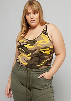 Plus Yellow Camo Print Scoop Neck Bodysuit