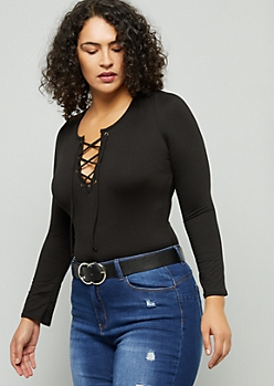 Plus Black Lace Up Long Sleeve Bodysuit