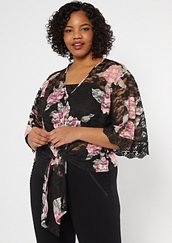 Plus Black Crochet Trim Tie Front Lace Top