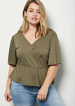 Plus Olive Surplice Flutter Peplum Top