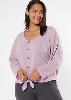 Plus Lavender Tie Front Waffle Knit Top