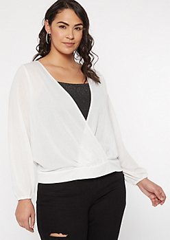 Plus Ivory Tie Back Surplice Top