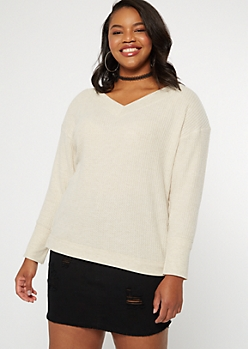 Plus Oatmeal Heather Slouchy Waffle Knit Top