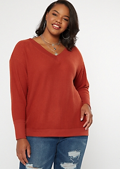 Plus Orange Slouchy Waffle Knit Top