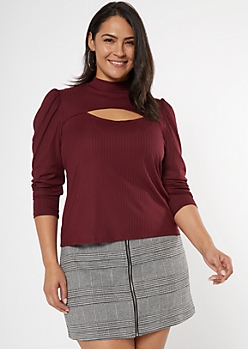 Plus Burgundy Puff Sleeve Mock Neck Cutout Top