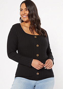 Plus Black Ribbed Knit Button Down Top