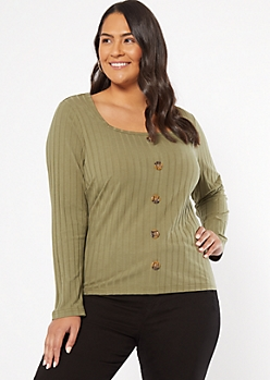 Plus Olive Ribbed Knit Button Down Top