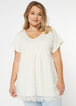 Plus Ivory V Neck Lace Tunic Tee