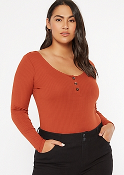 Plus Burnt Orange Scoop Neck Henley Long Sleeve Bodysuit
