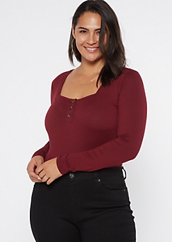 Plus Burgundy Square Neck Super Soft Bodysuit