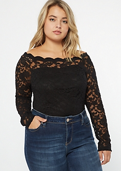 Plus Black Lace Off The Shoulder Bodysuit