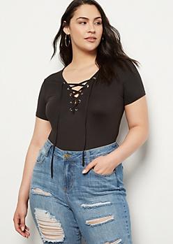 Plus Black Super Soft Lace Up Bodysuit