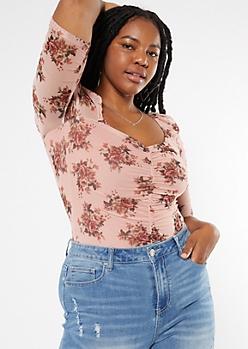 Plus Pink Floral Print Sweetheart Half Sleeve Mesh Bodysuit