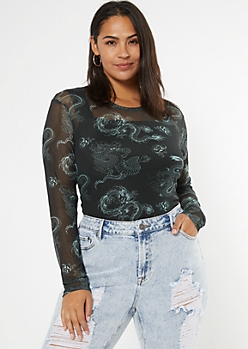 Plus Black Dragon Print Mesh Bodysuit