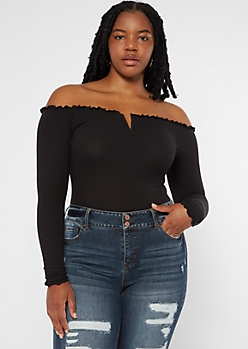 Plus Black Ribbed Off The Shoulder Wire Notch Bodysuit