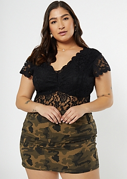 Plus Black Scallop Lace Bodysuit