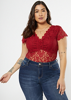 Plus Burgundy Scallop Lace Bodysuit