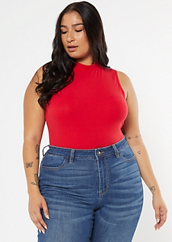 Plus Red Mock Neck Bodysuit