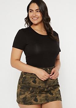 Plus Black Short Sleeve Favorite Bodysuit