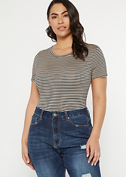 Plus Black Striped Short Sleeve Favorite Bodysuit