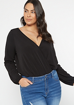 Plus Black Long Sleeve Surplice Bodysuit