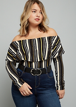 Plus Yellow Striped Off The Shoulder Flounce Bodysuit