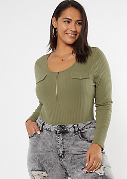 Plus Green Ribbed Half Zip Bodysuit