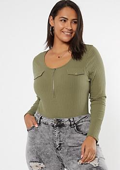 Plus Green Ribbed Half Zip Bodysuit