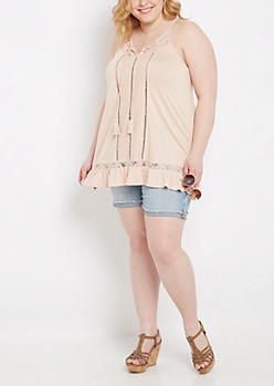 Plus Lace & Ruffled Tank Top