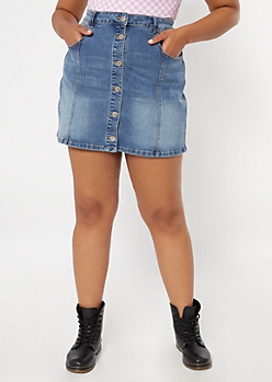 Plus Medium Wash Button Down A Line Mini Jean Skirt
