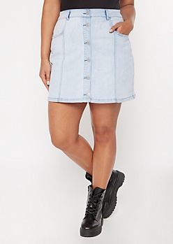 Plus Light Wash Button Down A Line Jean Skirt
