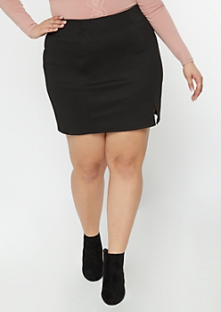 Black Slit Front Mini Skirt