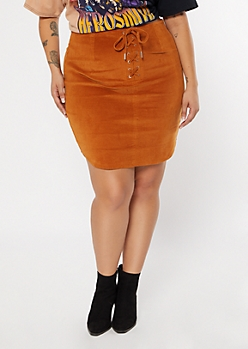 Plus Cognac Lace Up Skirt