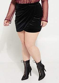 Plus Black Velvet Asymmetrical Wrap Mini Skirt
