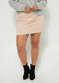 Plus Pink Corduroy Mini Skirt