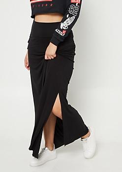 Plus Black Side Slit Maxi Skirt