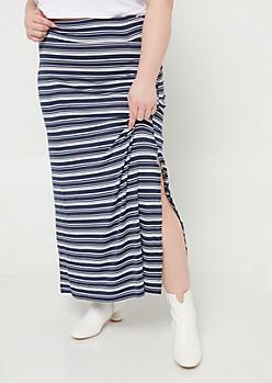 Plus Navy Stripe Pattern Side Slit Maxi Skirt