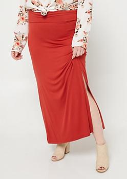 Plus Dark Red Side Slit Maxi Skirt