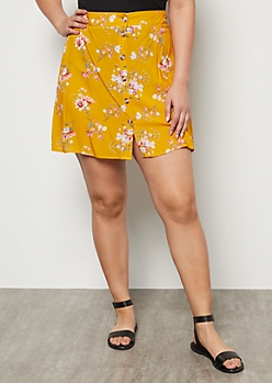 Plus Mustard Floral Print Button Down Mini Skater Skirt