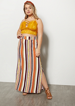Plus Burgundy Striped Side Slit Maxi Skirt