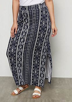 Plus Navy Border Print Side Slit Maxi Skirt